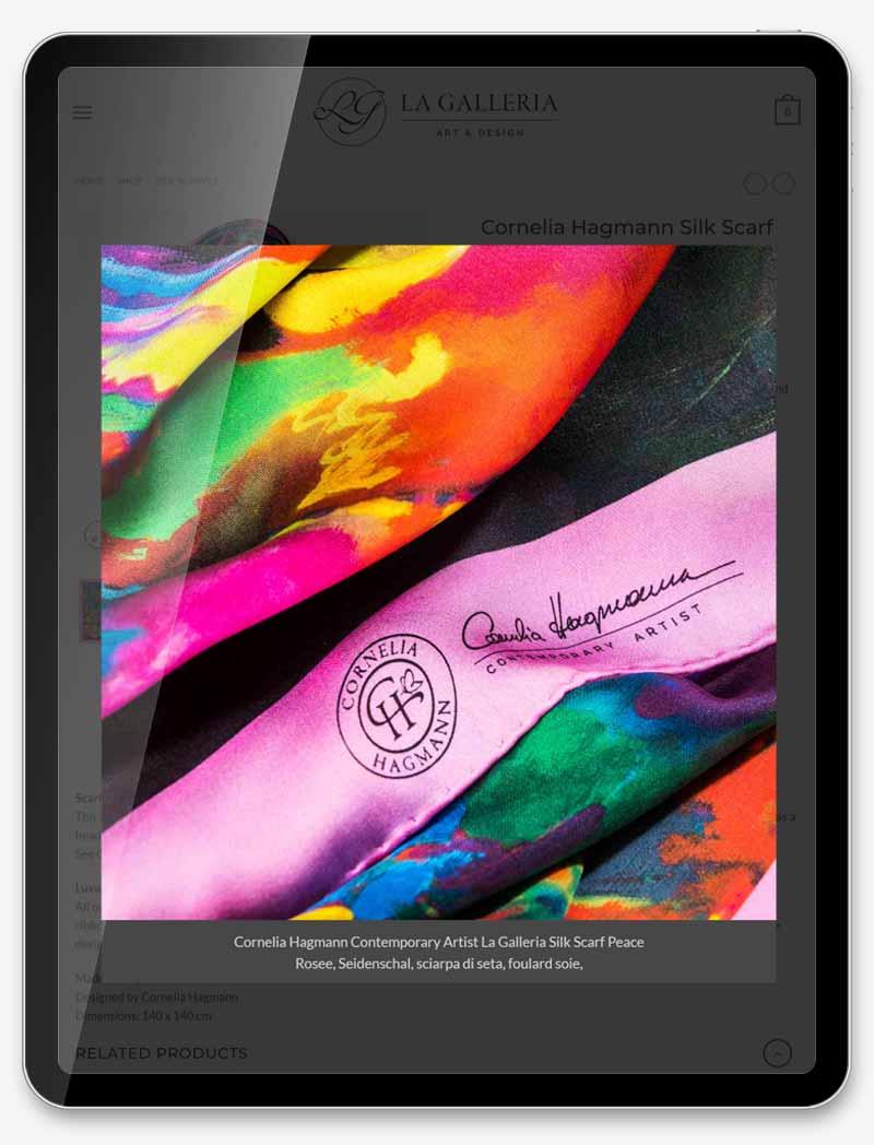 Web-Shop Online-Shop Entwicklung Web-Design Webseite Homepage Grafik-Design Fotografie Bildbearbeitung ShowMyProject Basel Schweiz Cornelia Hagmann Silk Scarves La Galleria Seitentücher Schals