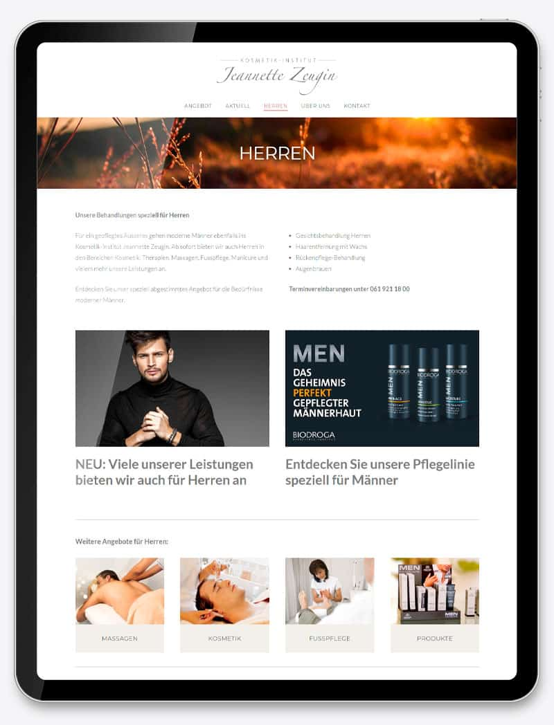 Webdesign Onlineshop Homepage Webseite Corporate Website Grafik Design Fotografie Kosmetik Institut Jeannette Zeugin 2021 ShowMyProject Digital Agentur Basel