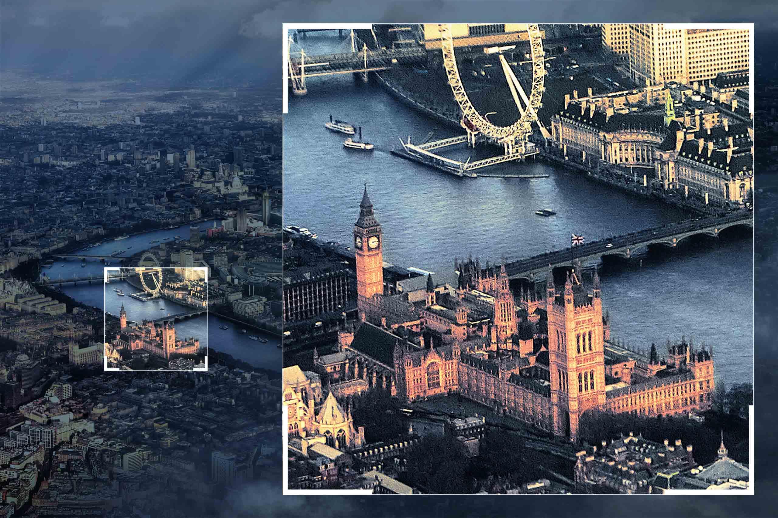 ShowMyProject Basel Digitale Bildbearbeitung Luftaufnahme London City Banks River Thames Digital Photo-Composing Post-Production Fotografie Making of Movie-Farblook Retouching